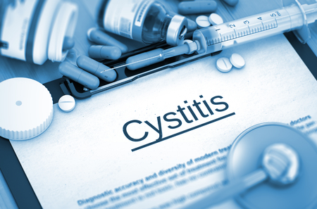 pyelonephritis: Cystitis - Medical Report with Composition of Medicaments - Pills, Injections and Syringe. 3D Render. Stock Photo