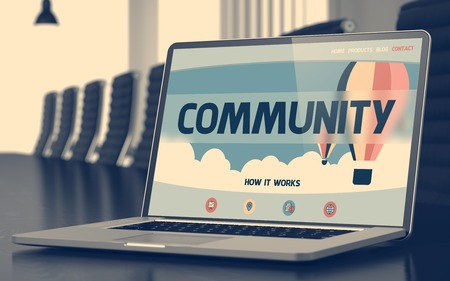 rationale: Community Concept. Closeup Landing Page on Laptop Display on Background of Meeting Hall in Modern Office. Toned Image with Selective Focus. 3D Rendering.