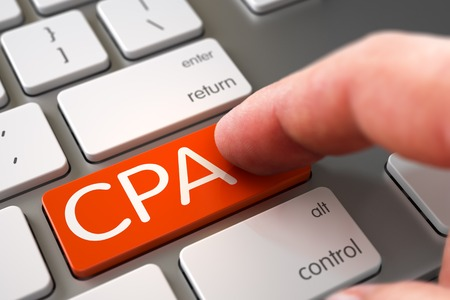 cpa: Business Concept - Male Finger Pointing Orange CPA Keypad on Metallic Keyboard. 3D Render. Stock Photo