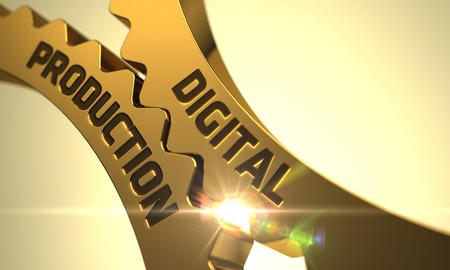 computerization: Digital Production on Mechanism of Golden Metallic Cogwheels with Lens Flare. 3D Render.