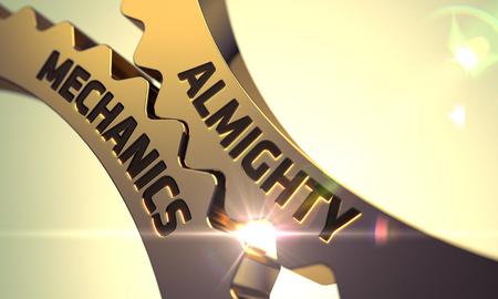 almighty: Golden Metallic Cog Gears with Almighty Mechanics Concept. 3D Render.