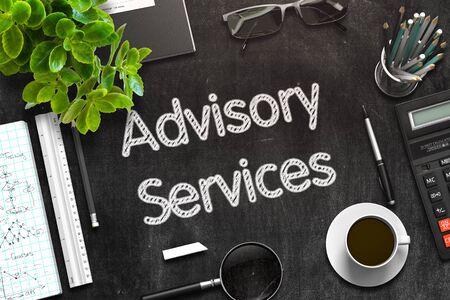 advisory: Advisory Services Concept on Black Chalkboard. 3d Rendering. Toned Image.