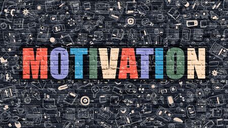 impulse: Motivation. Multicolor Inscription on Dark Brick Wall with Doodle Icons Around. Motivation Concept. Modern Style Illustration with Doodle Design Icons. Motivation on Dark Brickwall Background. Stock Photo