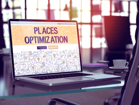 keywords link: Modern Workplace with Laptop Showing Landing Page in Doodle Design Style with Text Places Optimization. Toned Image with Selective Focus. 3D Render.