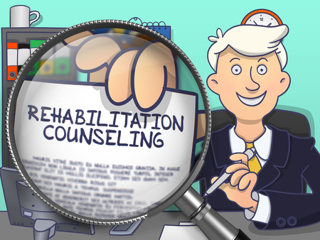 rehabilitation: Rehabilitation Counseling. Cheerful Man Welcomes in Office and Shows Text on Paper through Magnifier. Colored Doodle Style Illustration.
