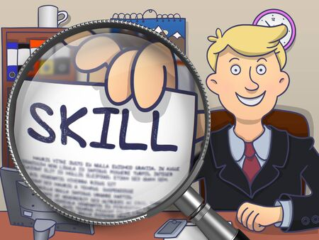 renewed: Skill. Happy Man in Office Shows Paper with Text through Lens. Colored Doodle Style Illustration. Stock Photo