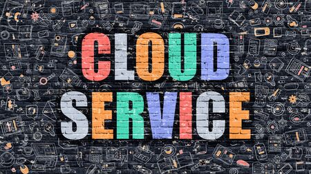 wall cloud: Cloud Service Concept. Modern Illustration. Multicolor Cloud Service Drawn on Dark Brick Wall. Doodle Icons. Doodle Style of Cloud Service Concept. Cloud Service on Wall. Stock Photo