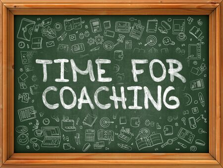 need direction: Green Chalkboard with Hand Drawn Time for Coaching with Doodle Icons Around. Line Style Illustration.