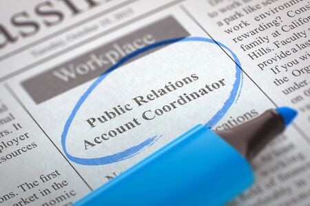 relaciones publicas: Periódico con una oferta de trabajo Coordinador cuenta las relaciones públicas. Imagen borrosa con enfoque selectivo. Concepto de búsqueda de empleo. Ilustración 3D.