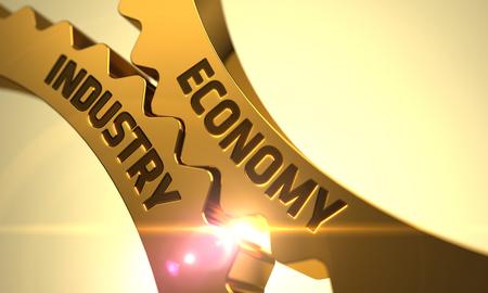 Economía de la industria en el mecanismo de engranajes metálicos de oro Cog. Render 3D