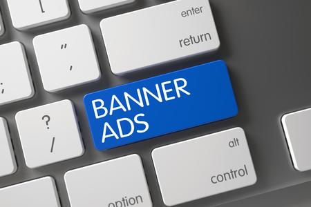 banner ads: Banner Ads Concept Metallic Keyboard with Banner Ads on Blue Enter Keypad Background, Selected Focus. 3D Render.