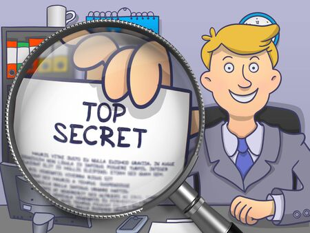 undercover: Top Secret. Paper with Text in Businessmans Hand through Lens. Colored Doodle Style Illustration. Stock Photo