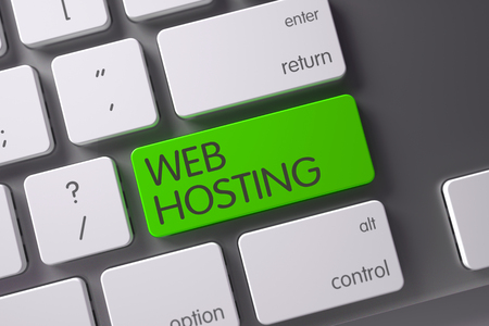 Web Hosting Concept Metallic Keyboard with Web Hosting on Green Enter Key Background, Selected Focus. 3D.