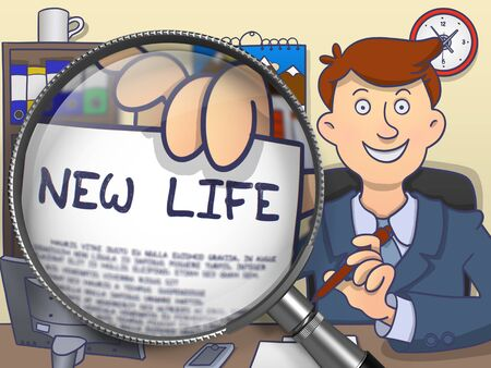 offiice: New Life. Man Sitting in Offiice and Holding a through Lens Paper with Text. Colored Doodle Illustration.