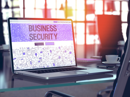 stocktaking: Business Security Concept Closeup on Landing Page of Laptop Screen in Modern Office Workplace. Toned Image with Selective Focus. 3D Render. Stock Photo