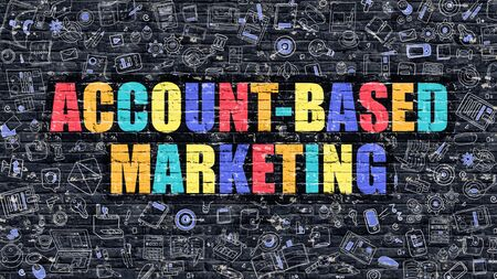 campaigning: Multicolor Concept - Account-Based Marketing on Dark Brick Wall with Doodle Icons. Account-Based Marketing Business Concept. Account-Based Marketing on Dark Wall. Stock Photo