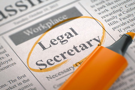 hiring practices: Legal Secretary - Job Vacancy in Newspaper, Circled with a Orange Highlighter. Blurred Image. Selective focus. Job Seeking Concept. 3D Render.