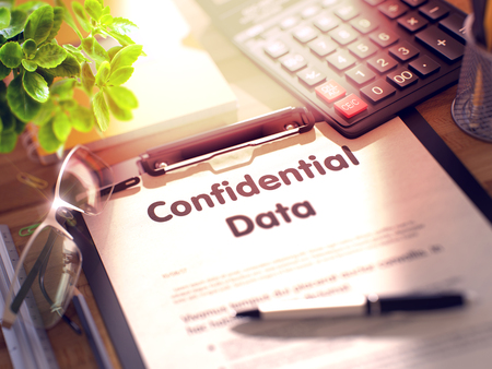 larceny: Confidential Data on Clipboard with Paper Sheet on Table with Office Supplies Around. 3d Rendering. Blurred Illustration.