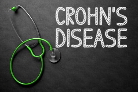crohn's disease: Medical Concept: Crohns Disease Handwritten on Black Chalkboard. Medical Concept: Crohns Disease on Black Chalkboard. 3D Rendering.