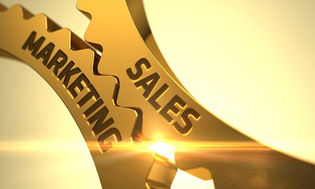 Marketing de vente sur le mécanisme de Golden Cogwheels avec Halo lumineux. 3D. Banque d'images