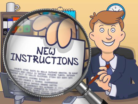 reorganization: New Instructions on Paper in Mans Hand through Magnifying Glass to Illustrate a Business Concept. Colored Doodle Illustration.
