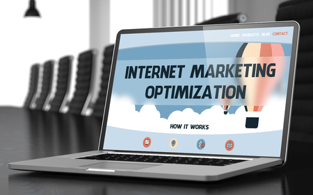 Internet Marketing Optimization Concept. Closeup Landing Page on Laptop Screen on Background of Meeting Room in Modern Office. Blurred Image with Selective focus. 3D Illustration.
