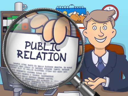 relation: Public Relation. Cheerful Officeman in Office Showing Paper with Text through Lens. Multicolor Modern Line Illustration in Doodle Style.