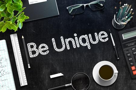 estereotipo: Be Unique Concept on Black Chalkboard. 3d Rendering. Toned Image. Foto de archivo