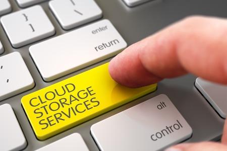 operating key: Finger Pushing Cloud Storage Services Yellow Key on Laptop Keyboard. 3D. Stock Photo