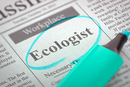 ecologist: A Newspaper Column in the Classifieds with the Jobs Section Vacancy of Ecologist, Circled with a Azure Marker. Blurred Image with Selective focus. Concept of Recruitment. 3D Illustration.
