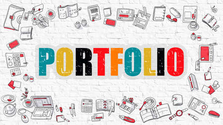 brickwall: Portfolio. Multicolor Inscription on White Brick Wall with Doodle Icons Around. Portfolio Concept. Modern Style Illustration with Doodle Design Icons. Portfolio on White Brickwall Background.