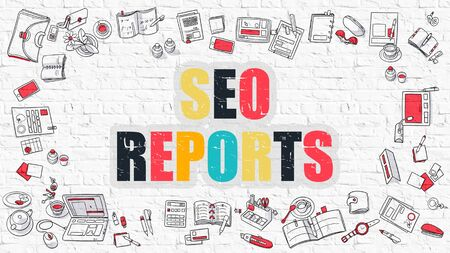 metasearch: SEO - Search Engine Optimization - Reports - Multicolor Concept with Doodle Icons Around on White Brick Wall Background. Modern Illustration with Elements of Doodle Design Style. Stock Photo