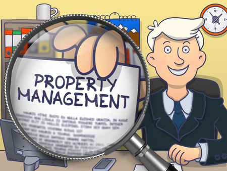 superintendence: Businessman in Office Workplace Holding a Paper with Concept Property Management. Closeup View through Magnifier. Colored Doodle Illustration. Stock Photo