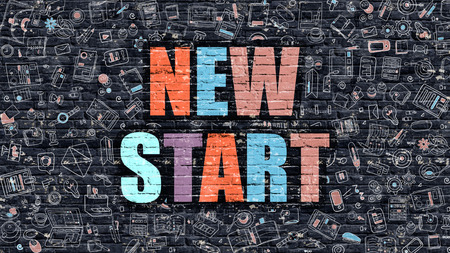 new start: New Start - Multicolor Concept on Dark Brick Wall Background with Doodle Icons Around. Modern Illustration with Elements of Doodle Design Style. New Start on Dark Wall. New Start Concept. New Start. Stock Photo