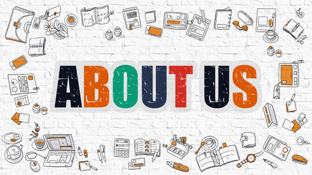 'about us': About Us. Multicolor Inscription on White Brick Wall with Doodle Icons Around. Modern Style Illustration.