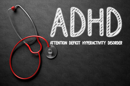 medical attention: Medical Concept: ADHD - Attention Deficit Hyperactivity Disorder on Black Chalkboard. Medical Concept: ADHD - Attention Deficit Hyperactivity Disorder Handwritten on Black Chalkboard. 3D Rendering.