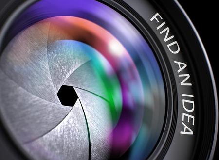 Find An Idea - Concept on SLR Camera Lens, Closeup. Find An Idea Written on a Lens of Reflex Camera. Closeup View, Selective Focus, Lens Flare Effect. 3D Render. Stock Photo