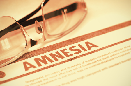 amnesia: Amnesia - Medical Concept with Blurred Text and Pair of Spectacles on Red Background. Selective Focus. 3D Rendering. Stock Photo
