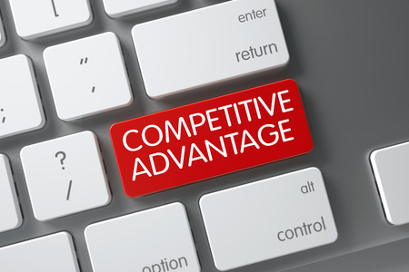 adversary: Competitive Advantage Concept Slim Aluminum Keyboard with Competitive Advantage on Red Enter Key Background, Selected Focus. 3D Illustration. Stock Photo