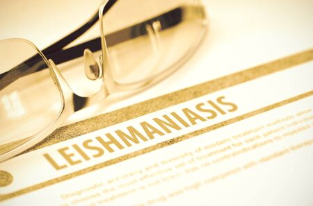 cutaneous: Leishmaniasis - Medicine Concept with Blurred Text and Spectacles on Red Background. Selective Focus. 3D Rendering. Stock Photo