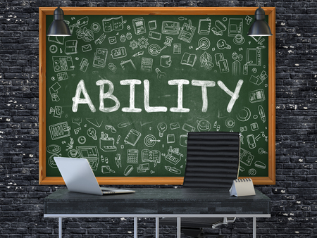proficiency: Green Chalkboard with the Text Ability Hangs on the Dark Brick Wall in the Interior of a Modern Office. Illustration with Doodle Style Elements. 3D. Stock Photo