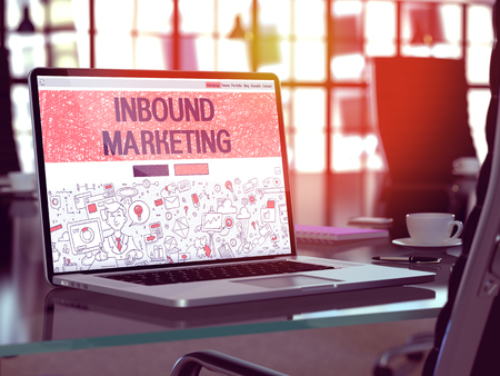 outbound: Inbound Marketing Concept. Closeup Landing Page on Laptop Screen in Doodle Design Style. On Background of Comfortable Working Place in Modern Office. Blurred, Toned Image. 3D Render. Stock Photo