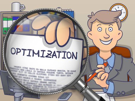 optimize: Optimization. Businessman Holds Out a Concept on Paper through Magnifying Glass. Colored Modern Line Illustration in Doodle Style.