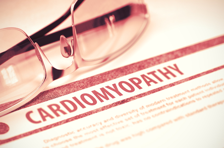 tachycardia: Cardiomyopathy - Medical Concept with Blurred Text and Specs on Red Background. Selective Focus. 3D Rendering.