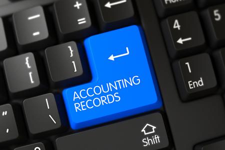 registros contables: Botón registros contables en el teclado moderno. Render 3D.
