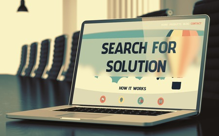 rummage: Search For Solution - Landing Page with Inscription on Laptop Screen on Background of Comfortable Conference Hall in Modern Office. Closeup View. Toned Image with Selective Focus. 3D Rendering.