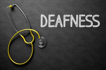 deafness: Medical Concept: Deafness Handwritten on Black Chalkboard. Top View of Yellow Stethoscope on Chalkboard. Medical Concept: Black Chalkboard with Deafness. 3D Rendering.
