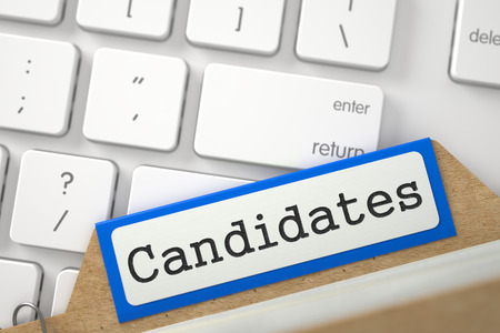 Candidates. Orange Folder Register Concept on Background of Computer Keyboard. Business Concept. Closeup View. Selective Focus. 3D Rendering.