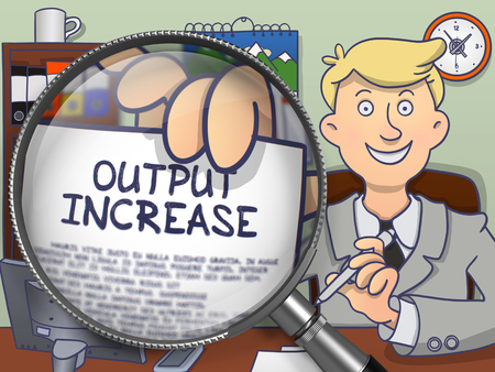 throughput: Output Increase. Successful Business Man in Office Showing Concept on Paper through Lens. Colored Doodle Style Illustration. Stock Photo