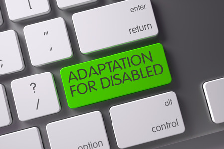 adaptation: Adaptation For Disabled Concept: White Keyboard with Adaptation For Disabled, Selected Focus on Green Enter Keypad. 3D Illustration.